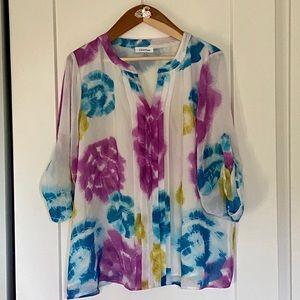 NWOT Calvin Klein Tie-Dye Blouse